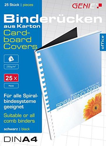 Genie 12383 Karton-Rücken (DIN A4, 230 g/qm, geeignet für alle Bindegeräte) 25 Stück schwarz