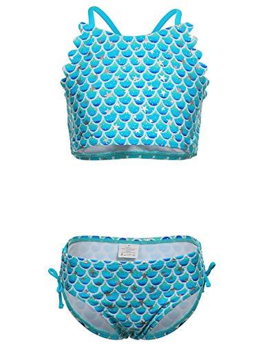 DUSISHIDAN BikiniKinderMädchen Sommer Bademode Kreuz zurück Süß Blaue Skalen Badeanzug Swimsuit S - Bikini-kreuz