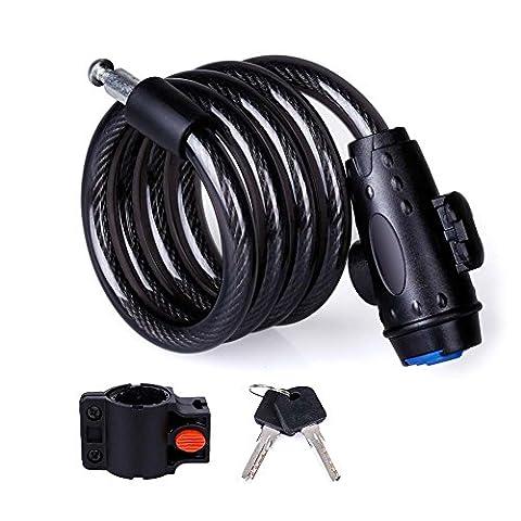 Câble antivol pour vélo Ultra résistant pour vélo câble antivol auto-enroulable avec support de montage et 2clés pour extérieur Vélo Skateboards Gates et Apprécié de sécurité