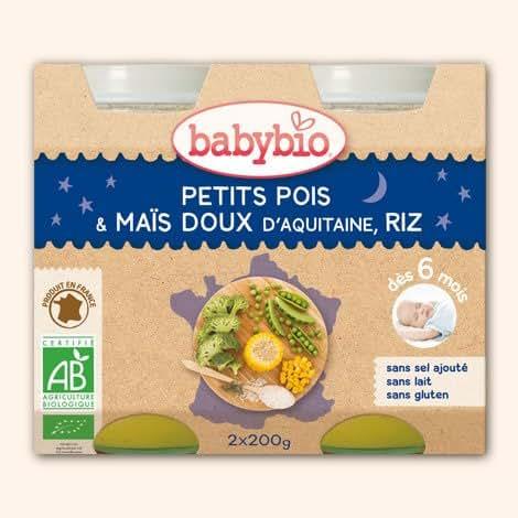 babybio Petits pois, maïs et riz, dès 6 mois, certifié AB ( Prix unitaire ) - Envoi Rapide Et Soignée