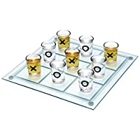 Out-of-the-Blue-793967-Glas-Trinkspiel-Tic-Tac-Toe-mit-9-Glsern-circa13-x-13-cm