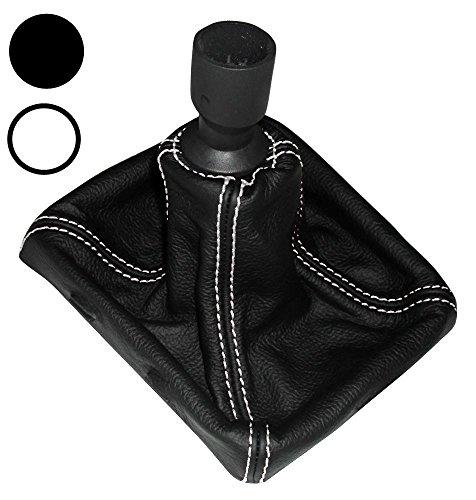 Aerzetix -Schaltsack Schalthebelmanschetten Schalthebelmanschette Schaltbetätigungs Schwarze Farbe 100% Leder weißen Nähten