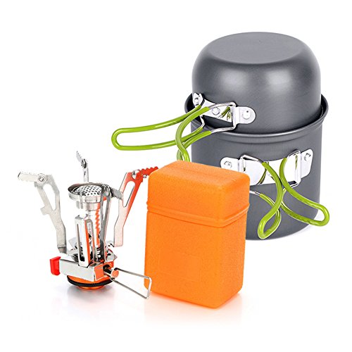 Lokep esterno in lega di alluminio picnic pentole set camping Cooking pot pan Bowl set Cook kit con mini fornello picnic zaino per escursionismo, campeggio e trekking Backpacking