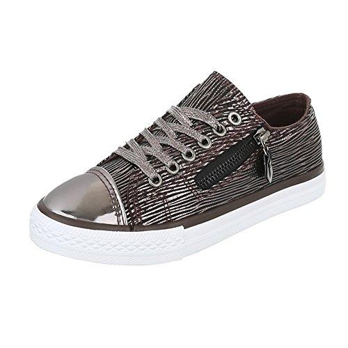 Low-Top Sneaker Damenschuhe Low-Top Sneakers Schnürsenkel Ital-Design Freizeitschuhe Silber Bronze