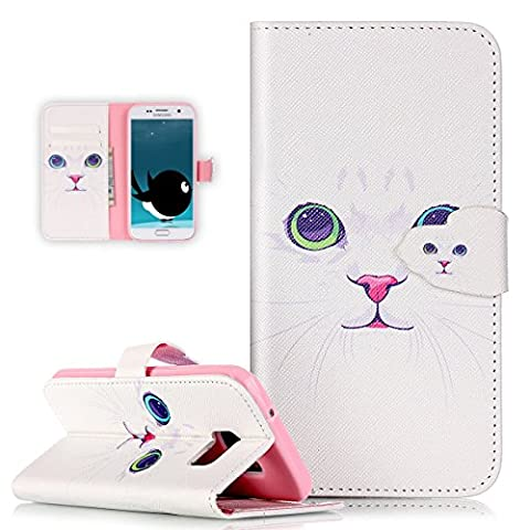 Galaxy S7 Edge Case,Galaxy S7 Edge Flip Wallet Case,ikasus Beautiful Art Painted Pattern Flip PU Leather Fold Wallet Pouch Case Premium Leather Wallet Flip Case with Stand Credit Card ID Holders Case Cover for Samsung Galaxy S7 Edge (2016),White Cat
