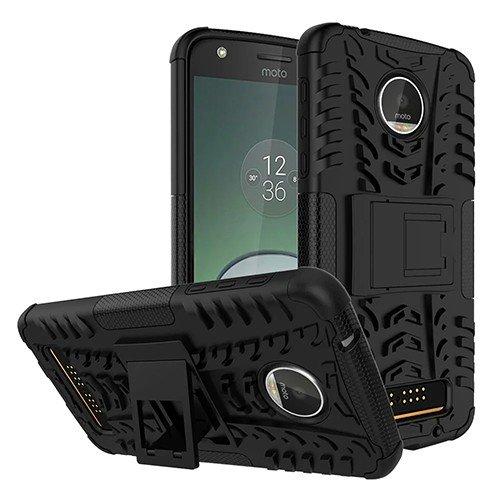 Tarkan Hard Armor Rubber Kick Stand Back Case Cover For Moto Z Play ,Black