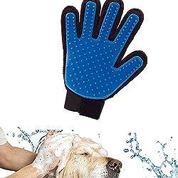 1 Pcs Cepillo Guantes Masaje de Silicona para Mascotas Perros Gatos, Productos Limpieza de Baño Peine , Retiro del Pelo Azul (La mano derecha)