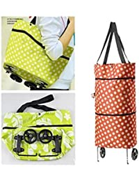 Deziine Reusable Folding Trolley Bag Large Oxford Cloth Grocery Cart Shopping Tote Bag HandBag With Wheels