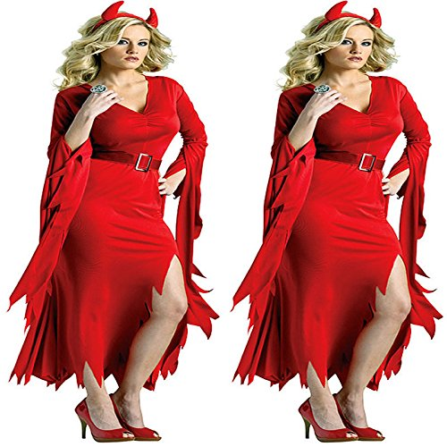 ostüme roten langärmeligen Kleid Teufel -Kostüme ()