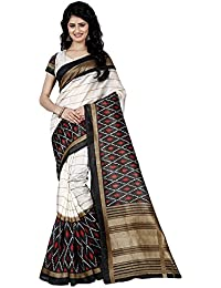 Alka Fashion Women's Art Silk Multicolor Printed Saree With Blouse Pices