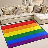 Naanle Regenbogen-Teppich für Wohnzimmer, Esszimmer, Schlafzimmer, Küche, 50 x 80 cm, Schwulenflagge, Polyester, Multi, 120 x 160 cm(4' x 5')