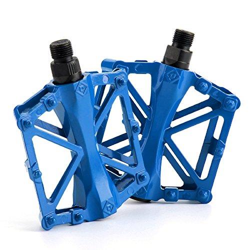 JJOnlineStore-Ein Paar/2PCS Ultralight Aluminium flach Plattform Pedale Fahrrad MTB BMX MOUNTAIN BIKE RACING links rechts Pedalachse, 9'/16' zoll (blau)