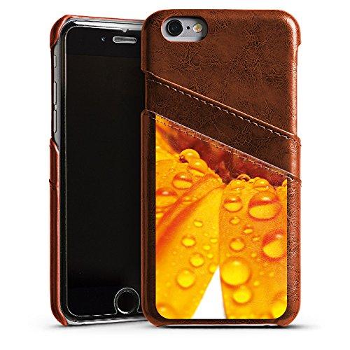 Apple iPhone 5s Housse Étui Protection Coque Fleur Fleur Gouttes Étui en cuir marron