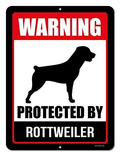 Honey Dew Gifts Rottweiler Schild Warnung durch Rottweiler 22,9x 30,5cm Vorsicht vor Hund Achtung Metall Aluminium Blechschild, Beware of Dog Zeichen für Zaun