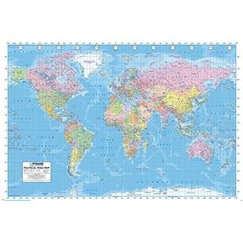 Carte du monde Poster grand format 91.5 x 61 cm Plastifié