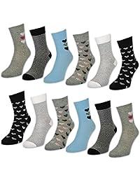 6 oder 12 Paar Damensocken Baumwolle Herzen & Ringel Damen Socken mit Muster - 34940 - sockenkauf24