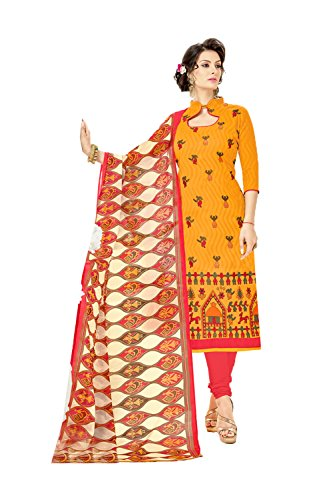 Indian Designer Patywear Ethnic Traditional Brown Anarkali Salwar Kameez in Yellow Brasso Cotton (Chiffon Kameez Gelb)