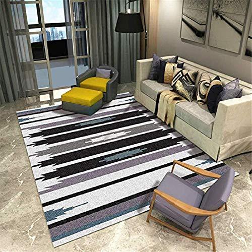 shshuiyue Designer Teppiche Moderner Teppich Kurzer Haufen Abstrakt Lila Schwarz Streifen Teppiche 7 MM Dicke 200x300 cm Weiche Seidige Hochflor Wohnzimmer Teppich -