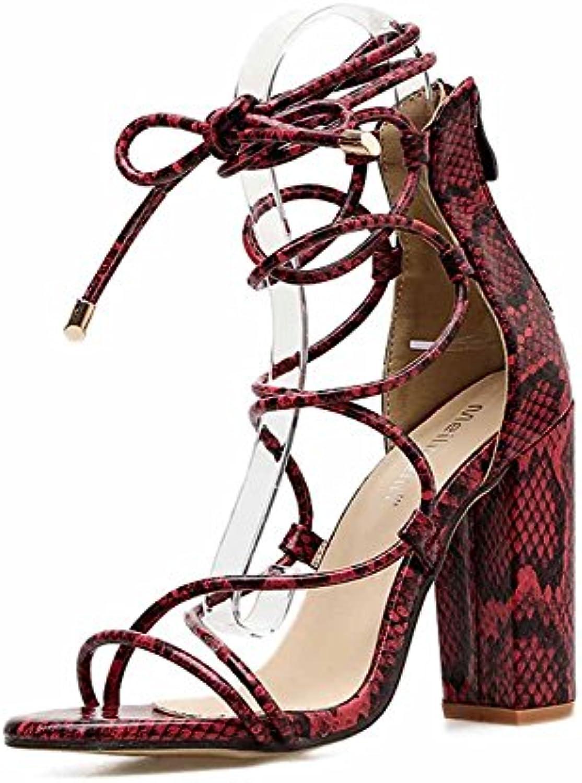 GLTER Donne Scarpe Charming Cross Straps Pumps 2018 New Summer European American Snake Pattern Sandali Con Tacco... | Qualità E Quantità Garantita  | Uomini/Donna Scarpa