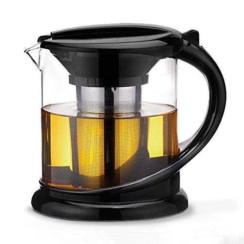OnePine 1.8 L/6-8 Cup Teekrug Bleifreies Glas Teekanne mit Filter und Deckel,Hitzebeständig Glas Tee Kanne Kaffeekanne mit sieb Teekanne 8 Cup