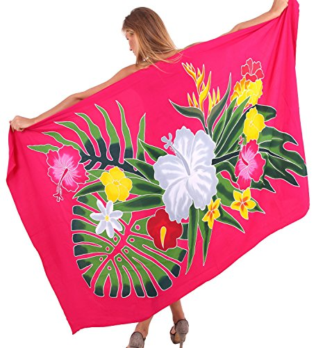 La Leela Floral Hand Painted Beachwear Rayon Plus Swimsuit Cover up Skirt Wrap Hawaiian Sarong Ladies