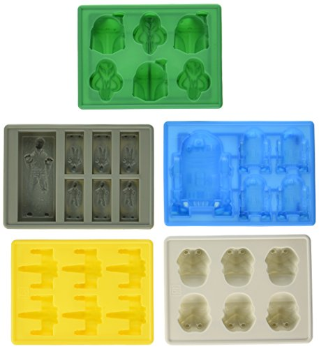 Set of 5 Star Wars Silicone Ice Trays / Chocolate Molds: X-Wing Fighter, Boba Fett, R2-D2, Han Solo in Carbonite, and Stormtrooper by Uncle Jack