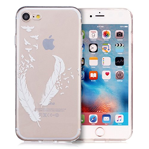 tinxi® Coque Apple iPhone 7 (4,7 Pouces) Coque de protection en silicone TPU pour iPhone 7 4,7 Case Etui Housse Protection Ultra mince Transparent avec motif Plumes Blanches Transparent/Plume