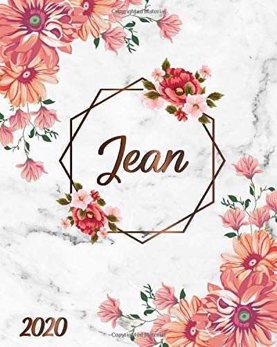 Jean: 2020 One Year Weekly & Monthly Planner, Agenda & Organizer | To-Do's, Inspirational Quotes, Vision Boards, Notes | Nifty White Marble & Bronze Floral Name Gift for Girls & Women -