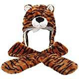 Honeystore Unisex Frauen Mädchen Kinder Winter Warm Plüsch Tier Ohrenschützer Hüte Mützen Weihnachten Halloween Kostüm Geschenk Tiger