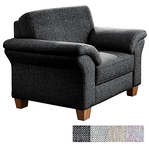 CAVADORE Sessel Baltrum mit Federkern im Landhausstil/Wunderschöner Sessel für Landhaus Garnitur Baltrum/Holzfüße Buche Natur / 101 x 87 x 88 cm (BxHxT) / Strukturstoff Grau
