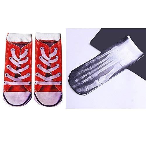 LCLrute Man's Womens 3D gedruckt lustige verrückte Neuheit Low Cut Ped nette sportliche Socken - Sportliche Ped Socken