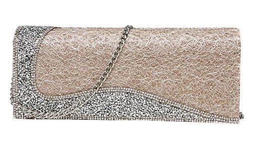 Frauen-Handtasche-Schulter-Abend-Handtaschen-Einkaufstasche Gold 5