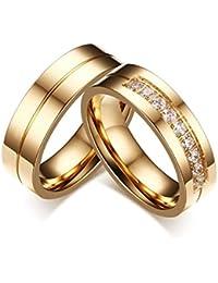 KNSAM - Anillos de boda de acero inoxidable Pareja de oro para él y ella, Anillos de compromiso de piedra de…