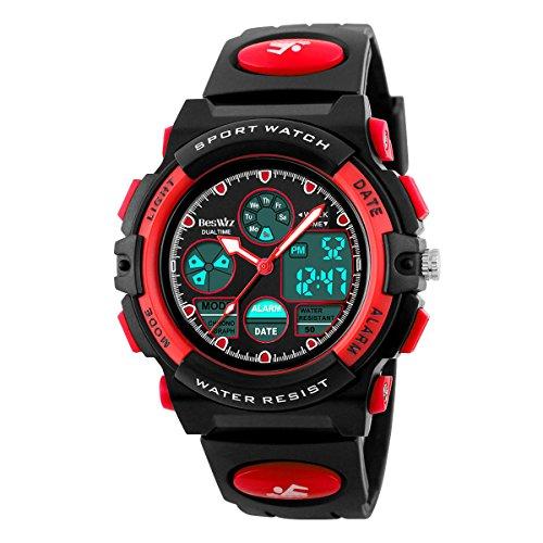 BesWLZ Kinder und Jugendliche Uhr Digital Quarz mit Plastik Armband Wasserdicht Alarm Stoppuhr Rot