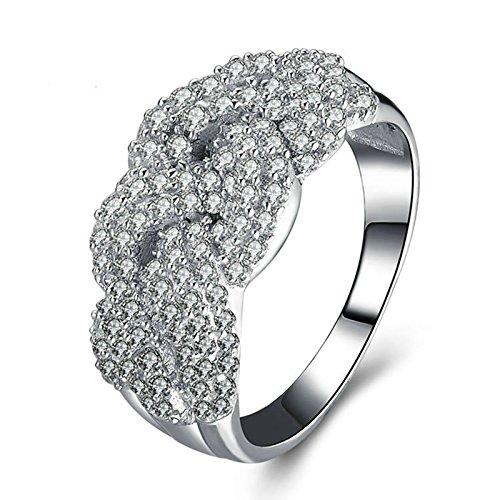 SonMo Ringe 925 Silber Verlobungsring Hochzeit Ring Eheringe Solitär Ring Silber Weiß Ringe Diamant Zirkonia Damenringe Größe 60 (19.1)