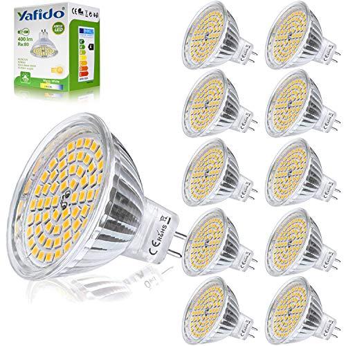 Yafido 10er GU5.3 LED Warmweiß MR16 12V 5W Ersatz für 35W Halogen Lampen GU5.3 2800K 400 Lumen Birne Leuchtmittel 120°Abstrahwinkel Spot Nicht Dimmbar Ø50 x 48 mm