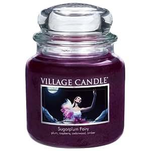 Village Candle Sugarplum Fairy Vaso di Vetro Medio, Violet, 9.8x9.5x12.4 cm