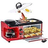 Wjsw Haushalt Multifunktions Frühstück Maschine,1000W Kerntemperaturregelung 9L Elektroofen /3 In 1 Toaster Spiegelei Kaffeemaschine,Rot