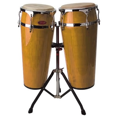 STAGG LTD A 2X LATIN DRUMS 10/11 W/ HEIGHT ADJUSTABLE STAND   AMBER