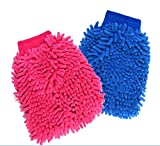 #10: Pack of 2 Double Sided Microfibre Wash and Dust Mitt Cleaning Gloves ( Random Colors )