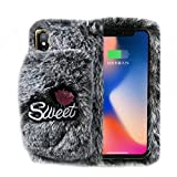 Artfeel Souple Peluche Coque pour iPhone XS, iPhone X Velu Étui Hiver Chaud Fausse...