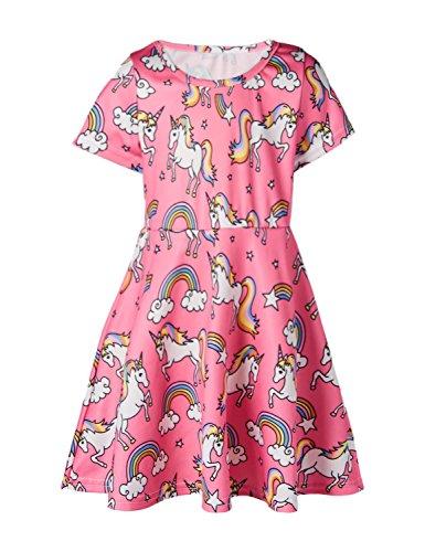 Funnycokid Kind Kleid Mädchen Sommer Kurzarm Crewneck Skater Kleider 8 Jahre