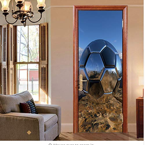 YDJSIEHNDU Kreative Lebendige Eisen Fußball Fußball Tür Aufkleber Wand Home Decals Kinderzimmer Wandaufkleber Kunst Wohnzimmer Schlafzimmer Wohnkultur -
