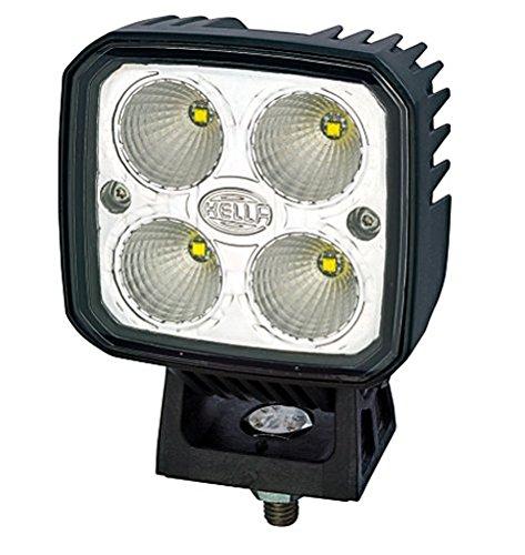 HELLA 1GA 996 283-001 Q90 LED, LED Arbeitsscheinwerfer, Nahfeldausleuchtung, 4 Power LEDs, 1.200 Lumen, stehender/hängender Anbau, Kunststoffscheibe klar, schwarzes Kunstoffgehäuse, 12V/24V