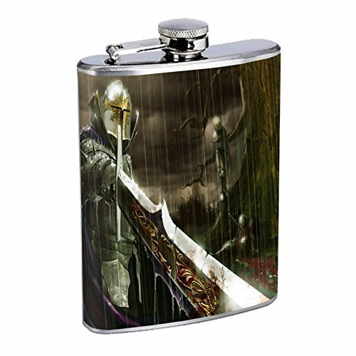 Fantasy Warrior Hip Flask D4 8oz Stainless Steel Anime Art Hero Fighter by Perfection In Style