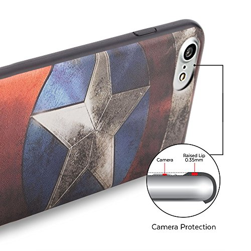 iPhone 7 Coque, GMYLE Snap Cover Coated pour iPhone 7 - capitaine US Image Slim Fit Snap sur protection TPU Shell Back Case