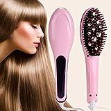OLIS Professional Ceramic Hair Straightener Brush With Temperature Control For Women (Pink)