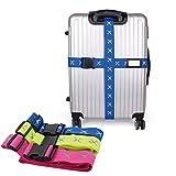 Cozyswan 2-Stück Reise Koffergurt Gepäckgurt Kofferband Gepäckband Band zum sicheren Verschließen der Koffers - Blau