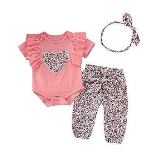 Gyratedream Newborn Baby Girls Clothing Set, Summer Baby Girls Short Sleeve Romper +Floral Trousers Suits with Headband Casual Outfits Sets Floral Short Sleeve Romper