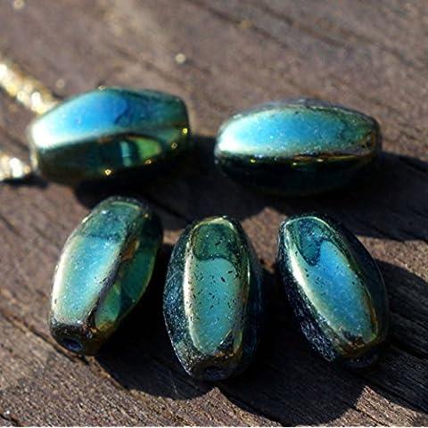 Metallizzato Iride Verde ceca Vetro Sfaccettato in Tubo Ovale Perline di Boemia 12mm x 6mm 20pcs